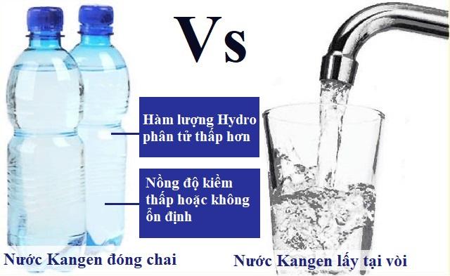 nước kangen đóng chai với nước kangen lấy tại vòi